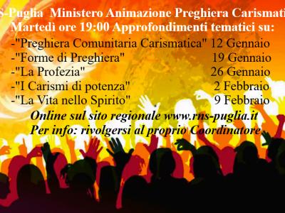 Approfondimenti tematici online sulla Preghiera Comunitaria Carismatica (2021)